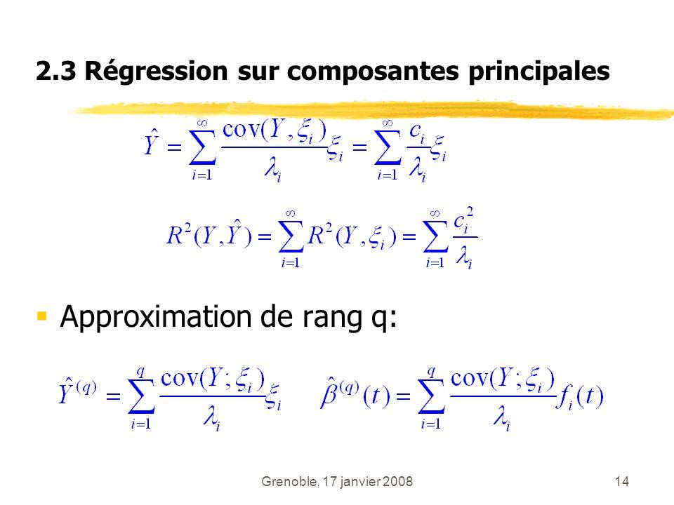 Grenoble, 17 janvier 200814 2.3 Régression sur composantes principales Approximation de rang q: