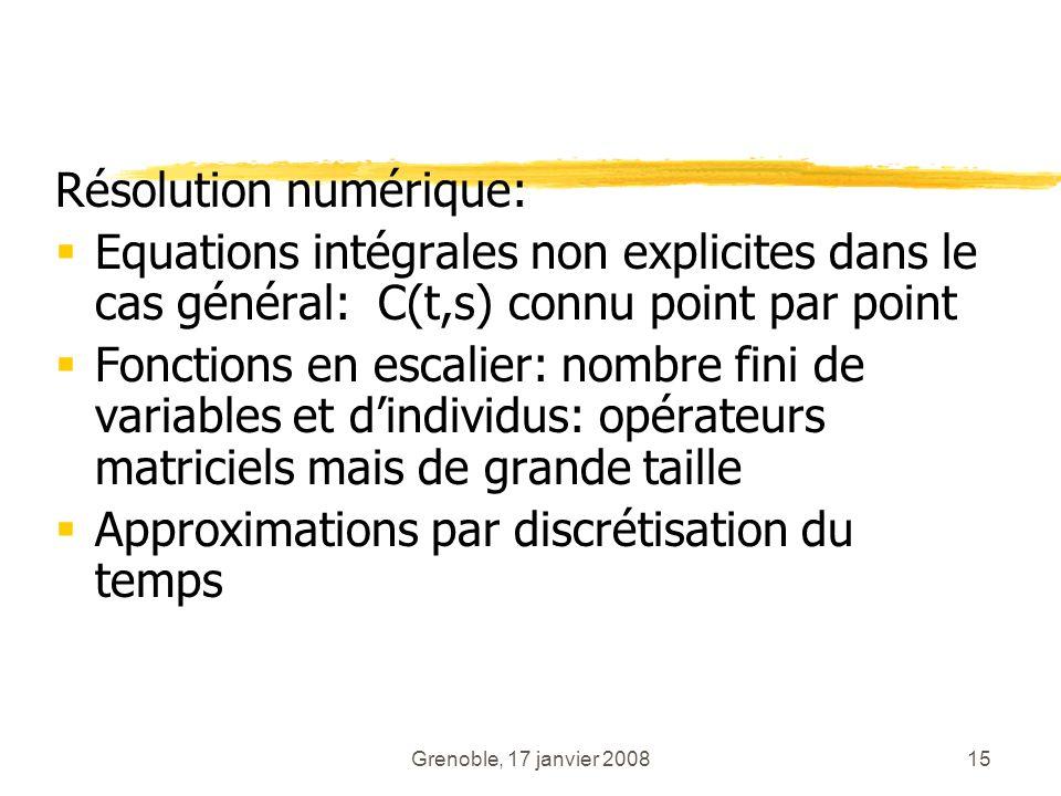 Grenoble, 17 janvier 200815 Résolution numérique: Equations intégrales non explicites dans le cas général: C(t,s) connu point par point Fonctions en e