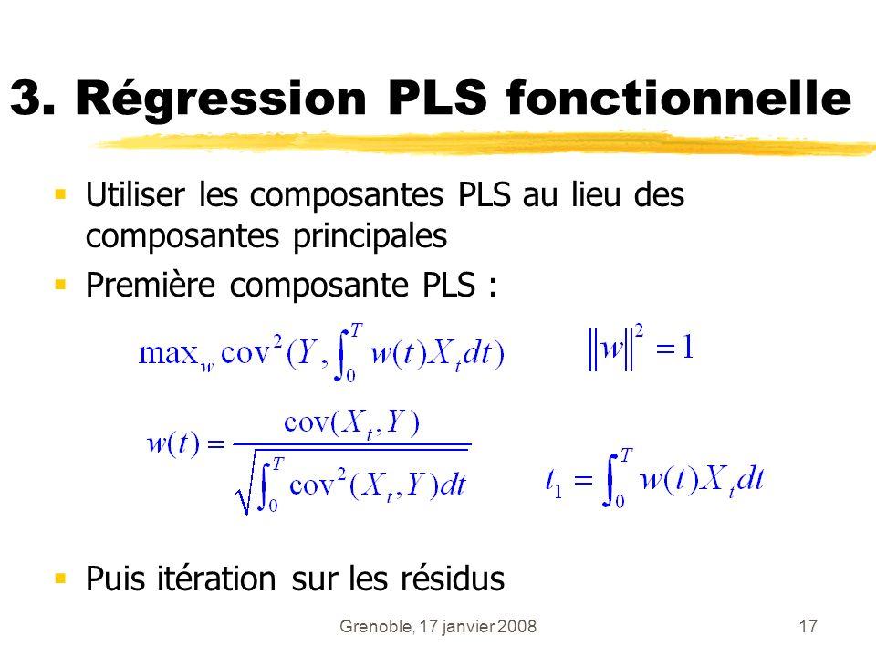 Grenoble, 17 janvier 200817 3. Régression PLS fonctionnelle Utiliser les composantes PLS au lieu des composantes principales Première composante PLS :
