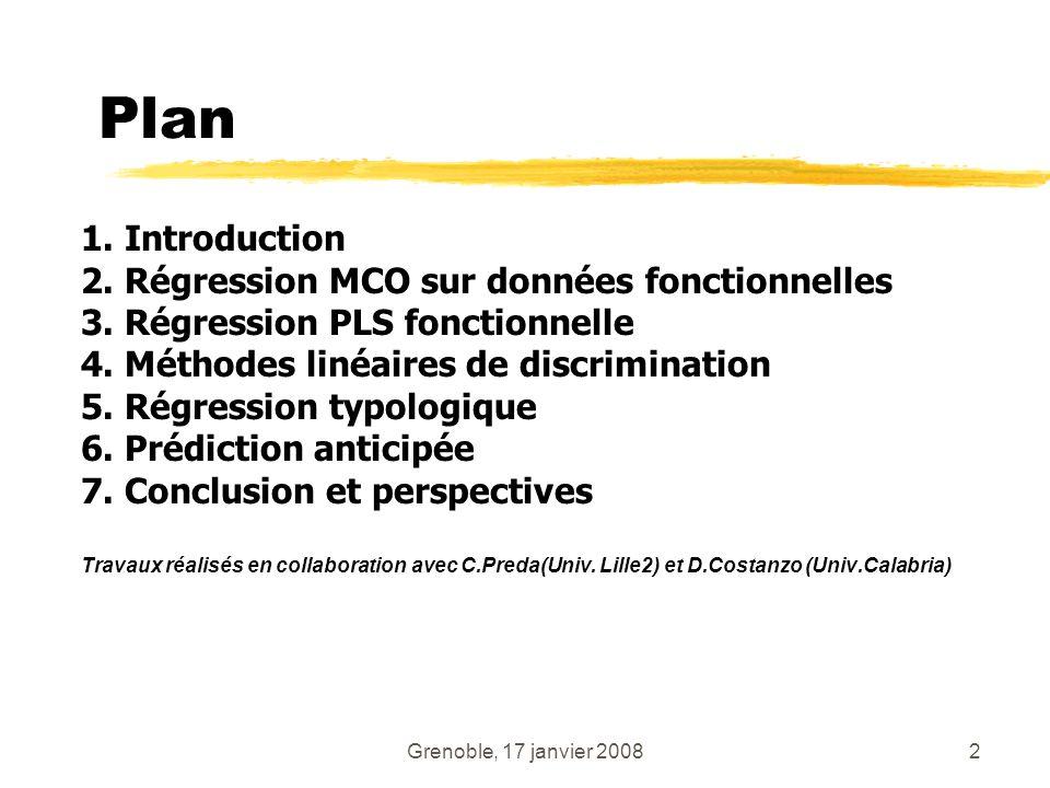 Grenoble, 17 janvier 20082 Plan 1. Introduction 2. Régression MCO sur données fonctionnelles 3. Régression PLS fonctionnelle 4. Méthodes linéaires de