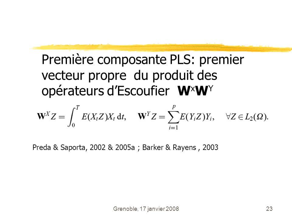 Grenoble, 17 janvier 200823 Première composante PLS: premier vecteur propre du produit des opérateurs dEscoufier W x W Y Preda & Saporta, 2002 & 2005a