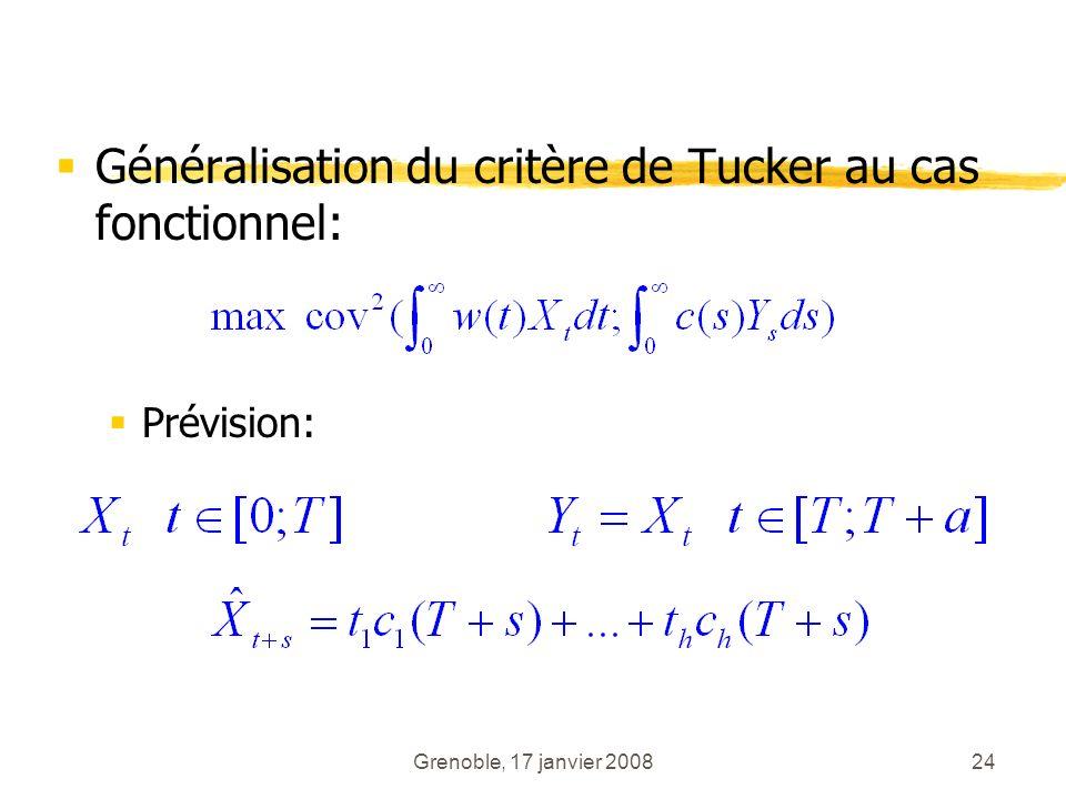 Grenoble, 17 janvier 200824 Généralisation du critère de Tucker au cas fonctionnel: Prévision: