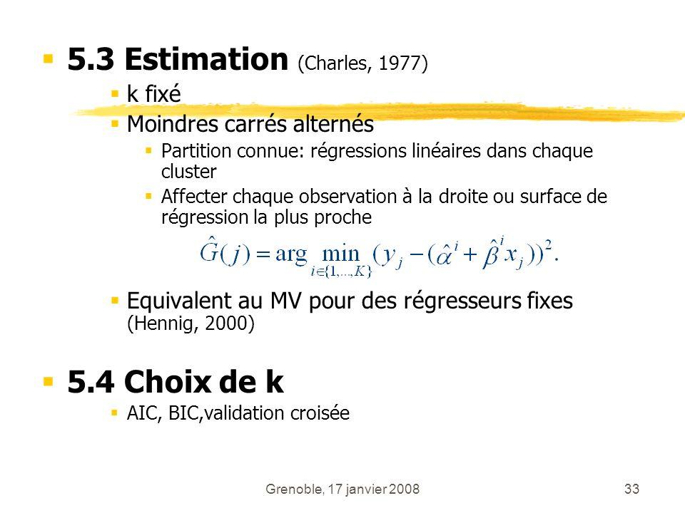 Grenoble, 17 janvier 200833 5.3 Estimation (Charles, 1977) k fixé Moindres carrés alternés Partition connue: régressions linéaires dans chaque cluster