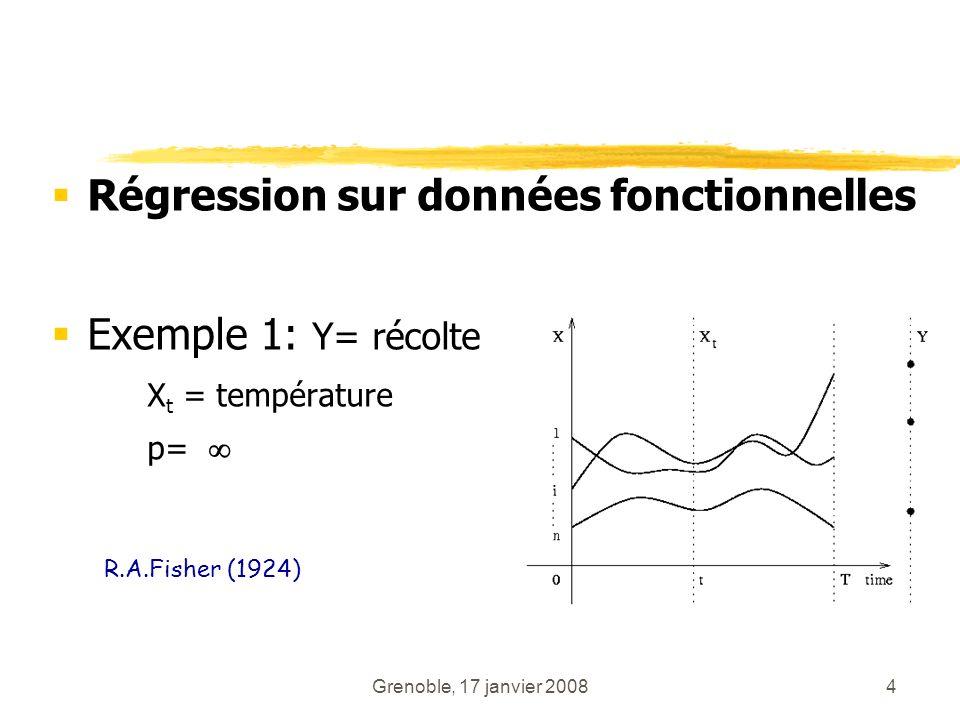 Grenoble, 17 janvier 20084 Régression sur données fonctionnelles Exemple 1: Y= récolte X t = température p= R.A.Fisher (1924)