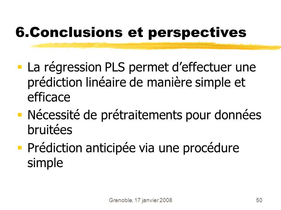 Grenoble, 17 janvier 200850 6.Conclusions et perspectives La régression PLS permet deffectuer une prédiction linéaire de manière simple et efficace Né