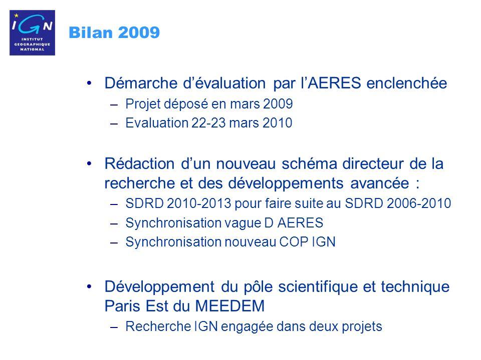 3 Bilan 2009 : recherche IGN choisi par le Service international GNSS pour assurer, à compter de 2010, la réalisation du repère de référence des GNSS et les recherches visant à son amélioration Mise en service des nouvelles caméras IGN pour les PVA 2009 2010 : version 8-9 têtes Nouvelle version du Stéréopolis.