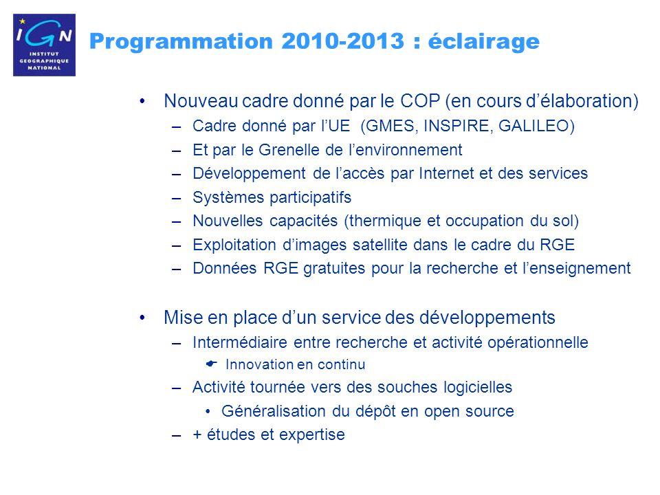 6 Programmation 2010-2013 : éclairage Nouveau cadre donné par le COP (en cours délaboration) –Cadre donné par lUE (GMES, INSPIRE, GALILEO) –Et par le