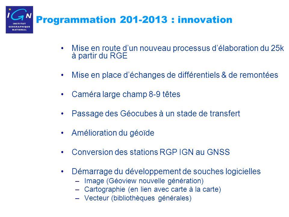 9 Programmation 201-2013 : innovation Mise en route dun nouveau processus délaboration du 25k à partir du RGE Mise en place déchanges de différentiels