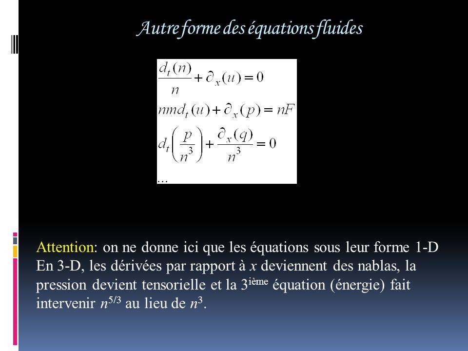 Autre forme des équations fluides Attention: on ne donne ici que les équations sous leur forme 1-D En 3-D, les dérivées par rapport à x deviennent des