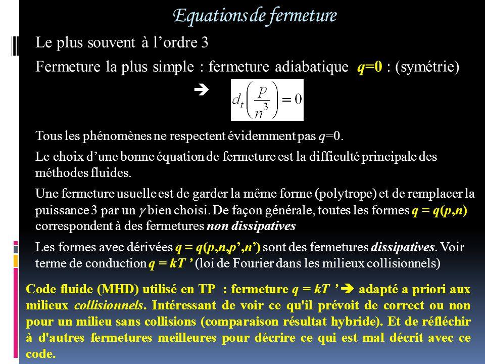 Equations de fermeture Le plus souvent à lordre 3 Fermeture la plus simple : fermeture adiabatique q=0 : (symétrie) Tous les phénomènes ne respectent