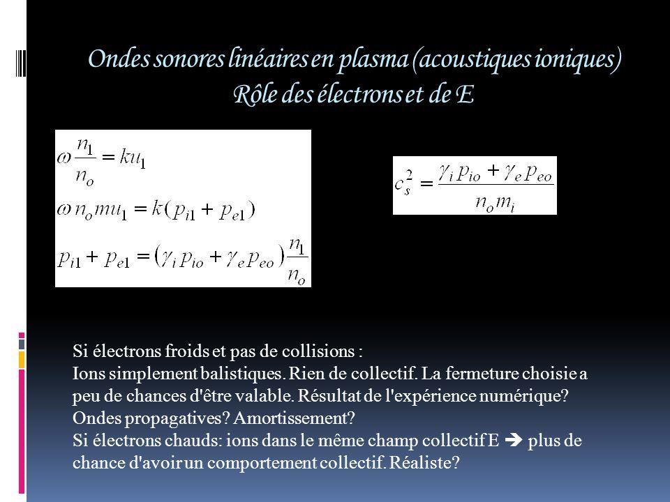 Si électrons froids et pas de collisions : Ions simplement balistiques. Rien de collectif. La fermeture choisie a peu de chances d'être valable. Résul