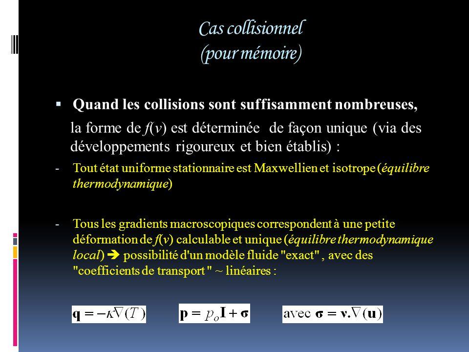 Cas collisionnel (pour mémoire) Quand les collisions sont suffisamment nombreuses, la forme de f(v) est déterminée de façon unique (via des développem