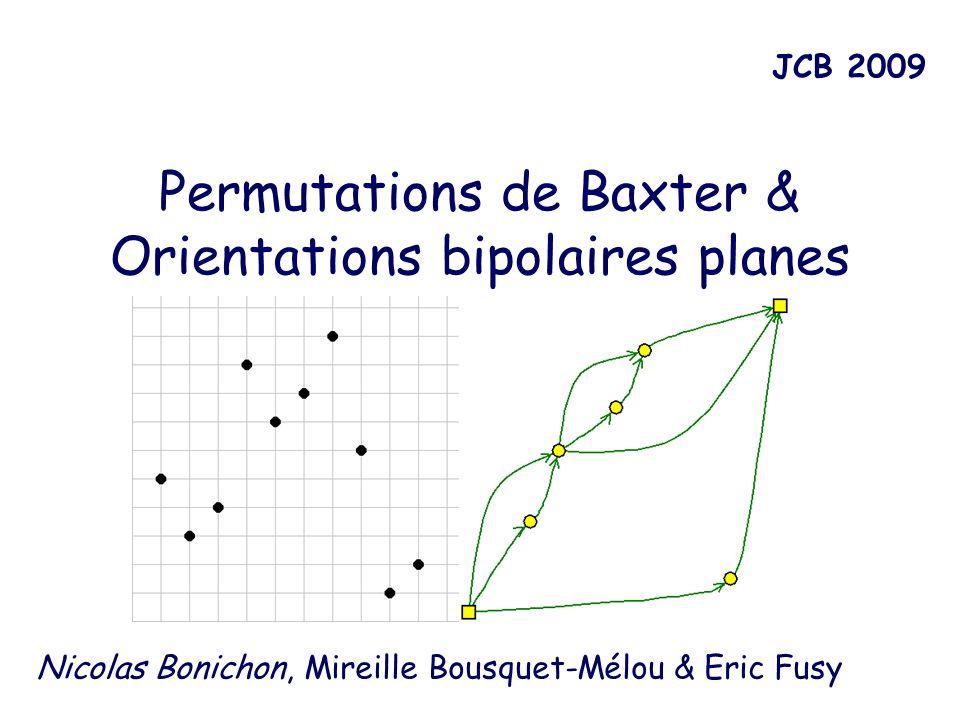 Propriétés Prop 1 : est une application des permutations de Baxter vers les orientations bipolaires Lemme 1 : les sommets noirs sont de degré 2.