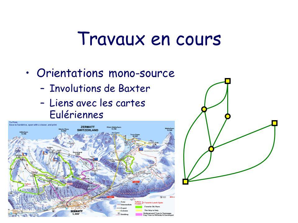 Travaux en cours Orientations mono-source –Involutions de Baxter –Liens avec les cartes Eulériennes