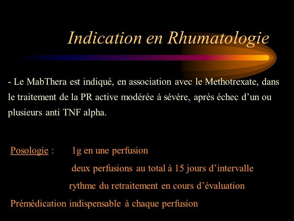 Indication en Rhumatologie - Le MabThera est indiqué, en association avec le Methotrexate, dans le traitement de la PR active modérée à sévère, après