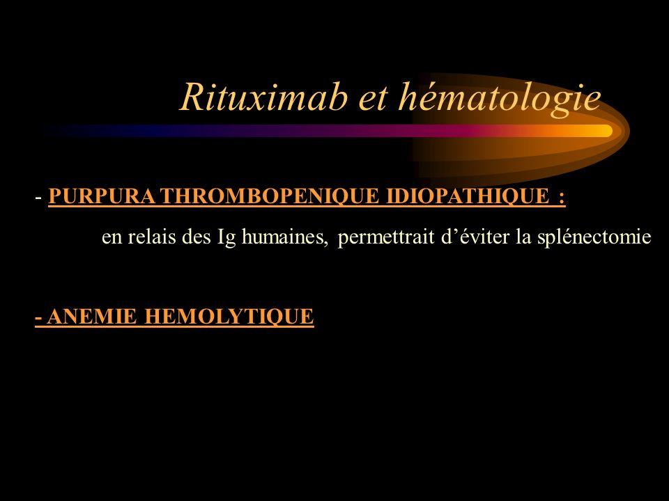 Rituximab et hématologie - PURPURA THROMBOPENIQUE IDIOPATHIQUE : en relais des Ig humaines, permettrait déviter la splénectomie - ANEMIE HEMOLYTIQUE