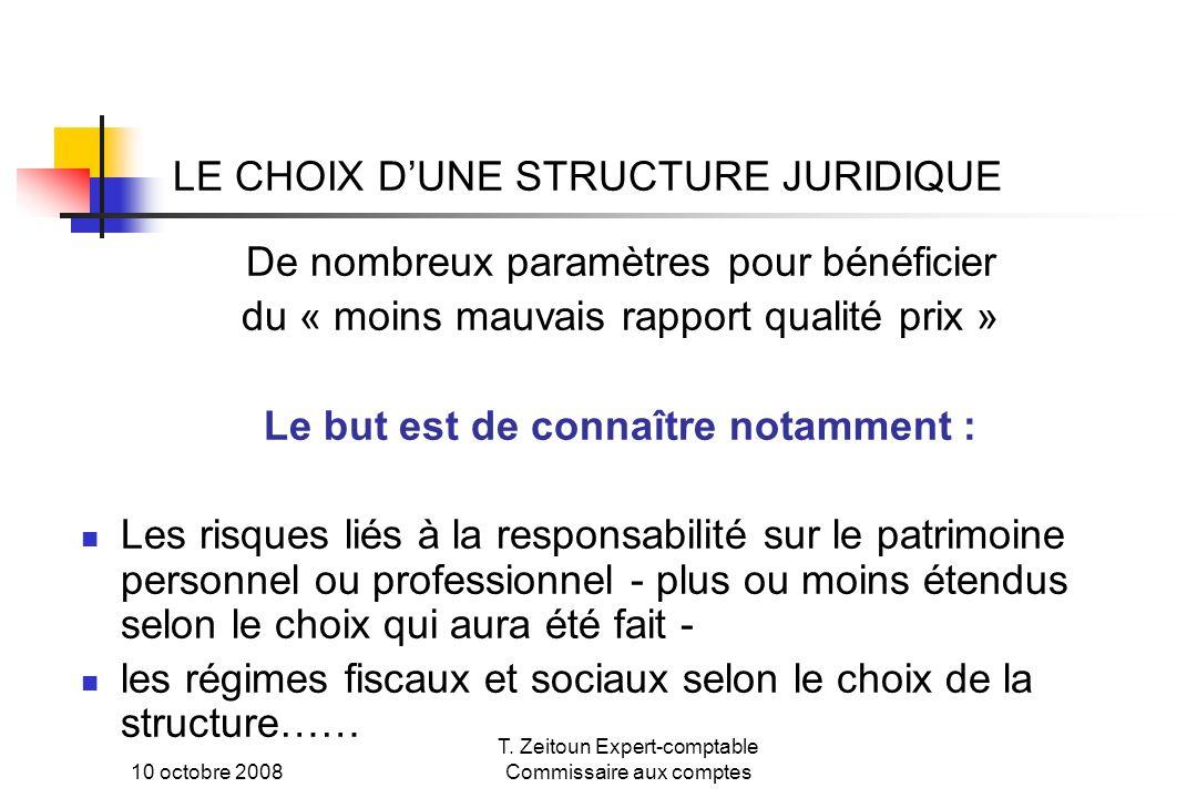 10 octobre 2008 T. Zeitoun Expert-comptable Commissaire aux comptes LE CHOIX DUNE STRUCTURE JURIDIQUE De nombreux paramètres pour bénéficier du « moin