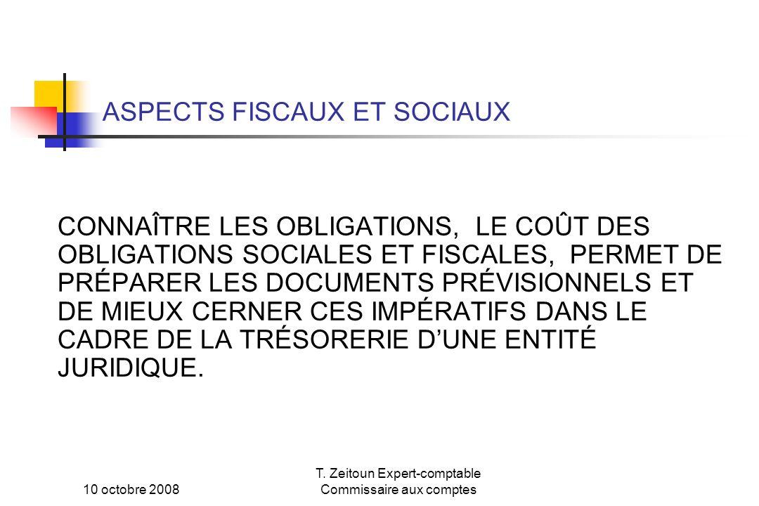 10 octobre 2008 T. Zeitoun Expert-comptable Commissaire aux comptes ASPECTS FISCAUX ET SOCIAUX CONNAÎTRE LES OBLIGATIONS, LE COÛT DES OBLIGATIONS SOCI