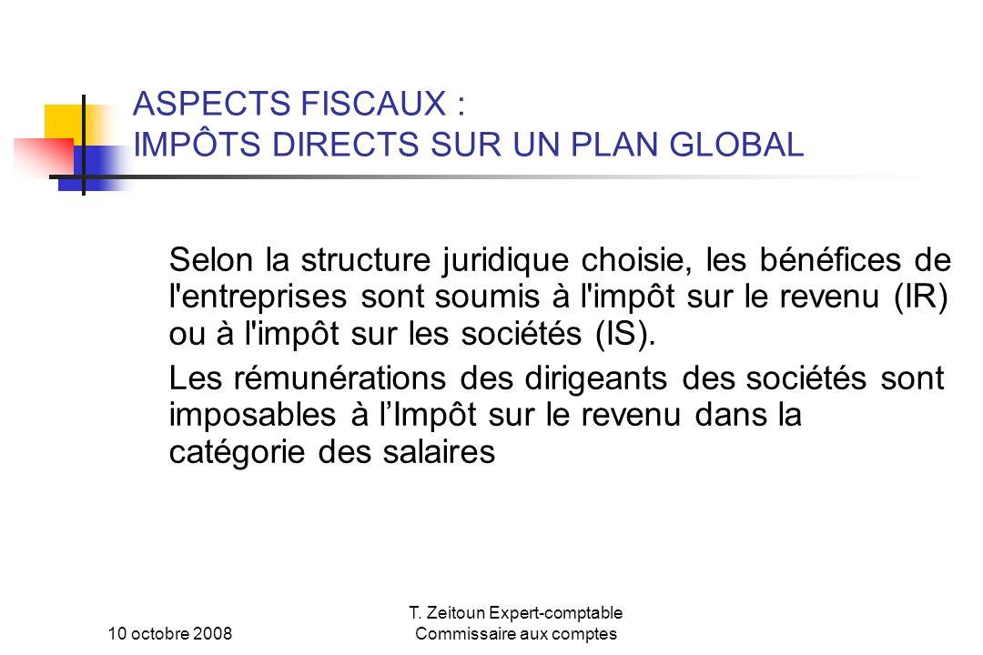 10 octobre 2008 T. Zeitoun Expert-comptable Commissaire aux comptes ASPECTS FISCAUX : IMPÔTS DIRECTS SUR UN PLAN GLOBAL Selon la structure juridique c