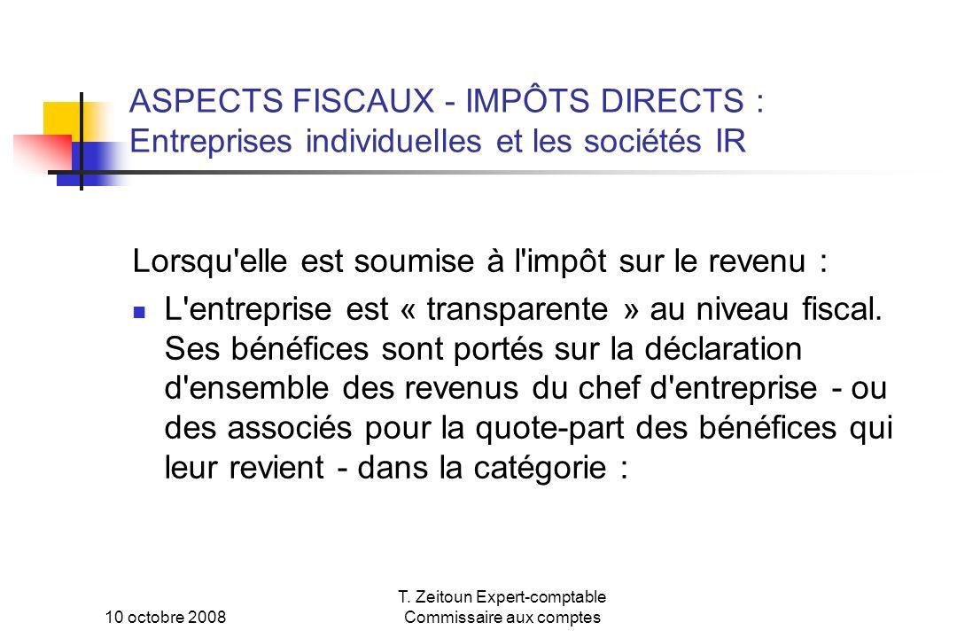 10 octobre 2008 T. Zeitoun Expert-comptable Commissaire aux comptes ASPECTS FISCAUX - IMPÔTS DIRECTS : Entreprises individuelles et les sociétés IR Lo