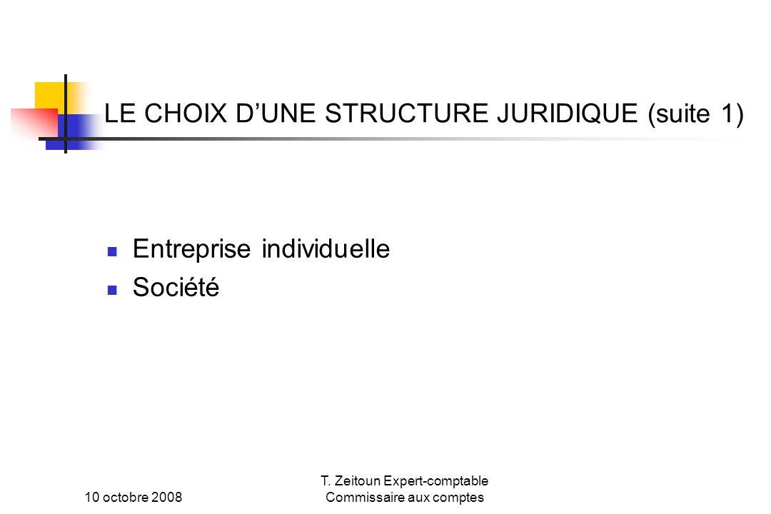 10 octobre 2008 T. Zeitoun Expert-comptable Commissaire aux comptes LE CHOIX DUNE STRUCTURE JURIDIQUE (suite 1) Entreprise individuelle Société