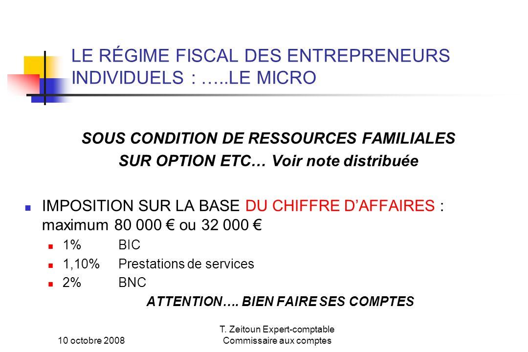 10 octobre 2008 T. Zeitoun Expert-comptable Commissaire aux comptes LE RÉGIME FISCAL DES ENTREPRENEURS INDIVIDUELS : …..LE MICRO SOUS CONDITION DE RES