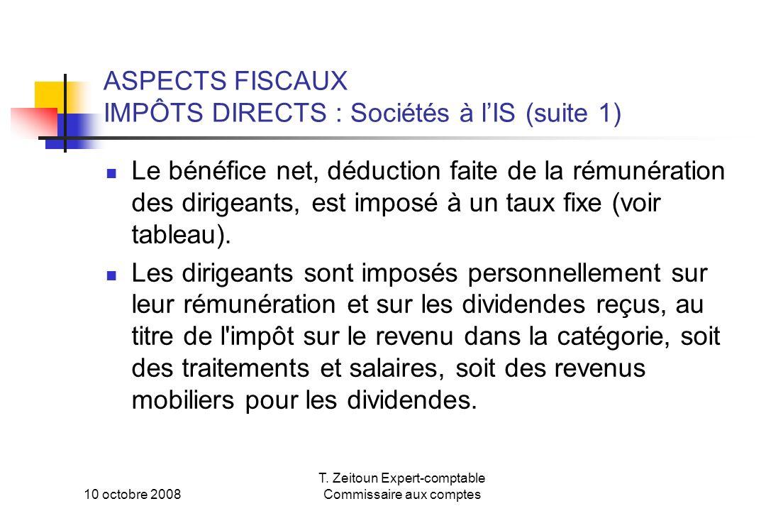 10 octobre 2008 T. Zeitoun Expert-comptable Commissaire aux comptes ASPECTS FISCAUX IMPÔTS DIRECTS : Sociétés à lIS (suite 1) Le bénéfice net, déducti