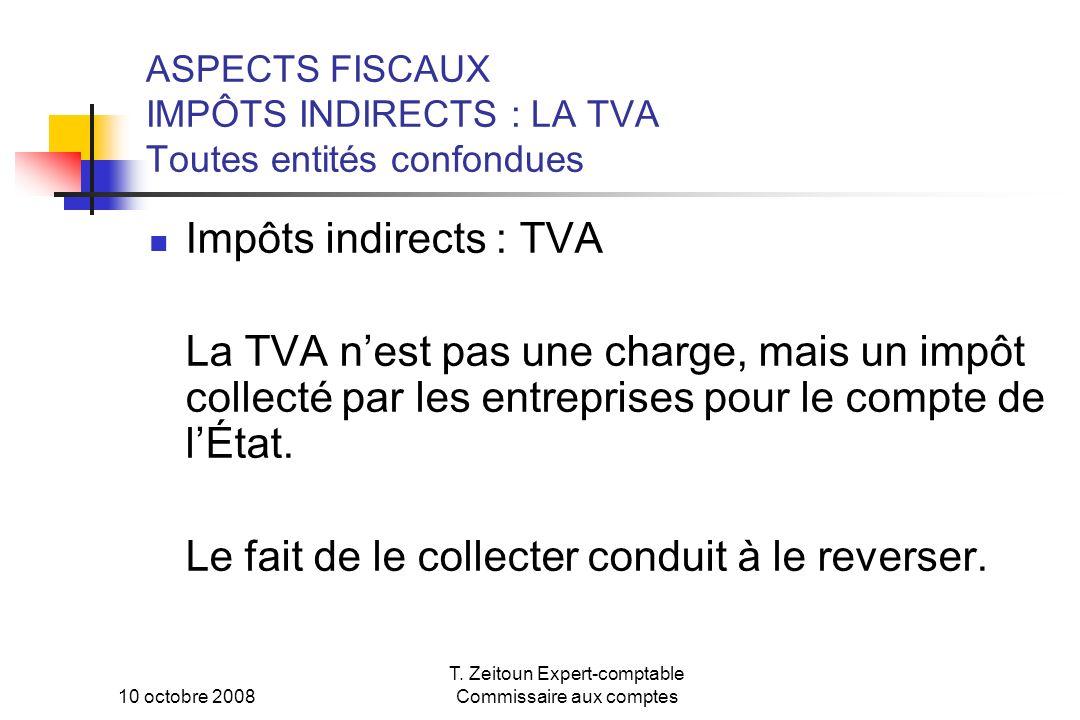 10 octobre 2008 T. Zeitoun Expert-comptable Commissaire aux comptes ASPECTS FISCAUX IMPÔTS INDIRECTS : LA TVA Toutes entités confondues Impôts indirec