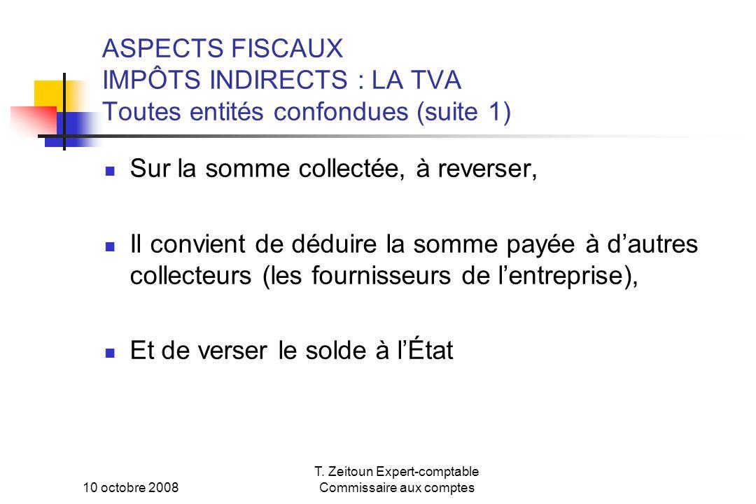 10 octobre 2008 T. Zeitoun Expert-comptable Commissaire aux comptes ASPECTS FISCAUX IMPÔTS INDIRECTS : LA TVA Toutes entités confondues (suite 1) Sur