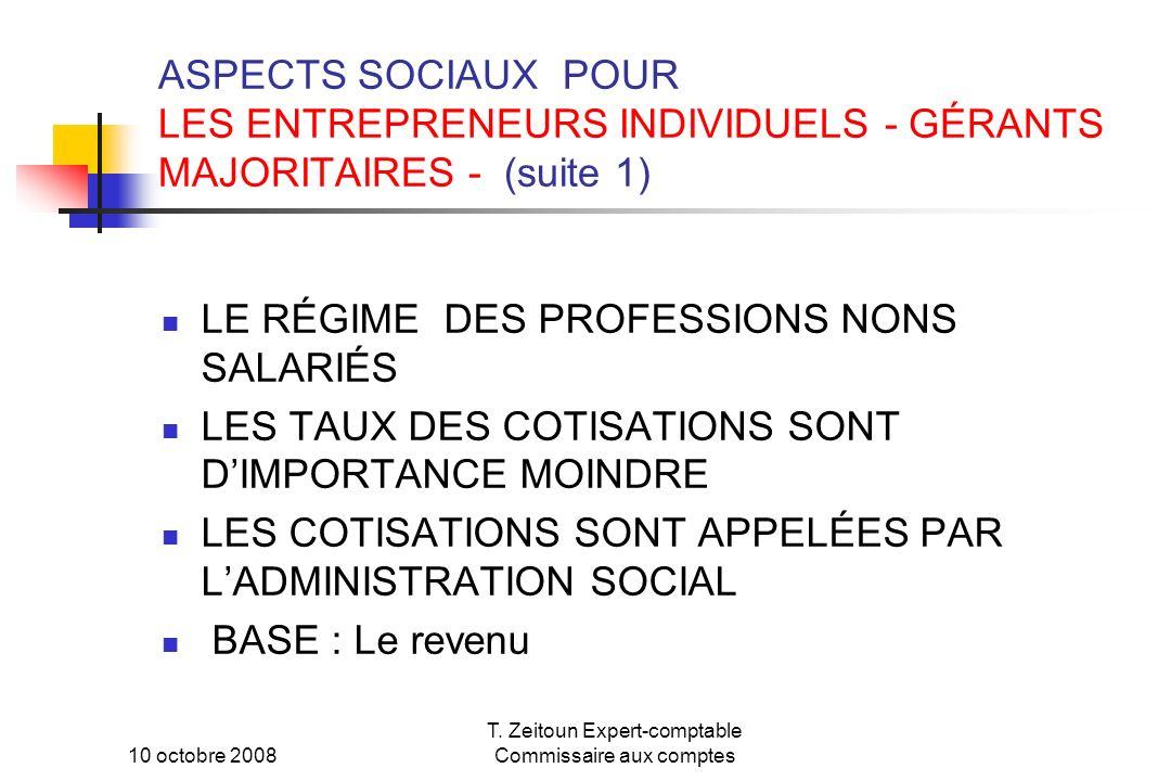 10 octobre 2008 T. Zeitoun Expert-comptable Commissaire aux comptes ASPECTS SOCIAUX POUR LES ENTREPRENEURS INDIVIDUELS - GÉRANTS MAJORITAIRES - (suite