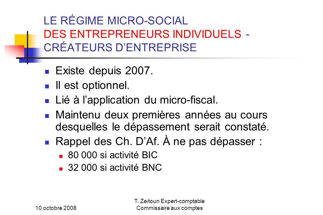 10 octobre 2008 T. Zeitoun Expert-comptable Commissaire aux comptes LE RÉGIME MICRO-SOCIAL DES ENTREPRENEURS INDIVIDUELS - CRÉATEURS DENTREPRISE Exist
