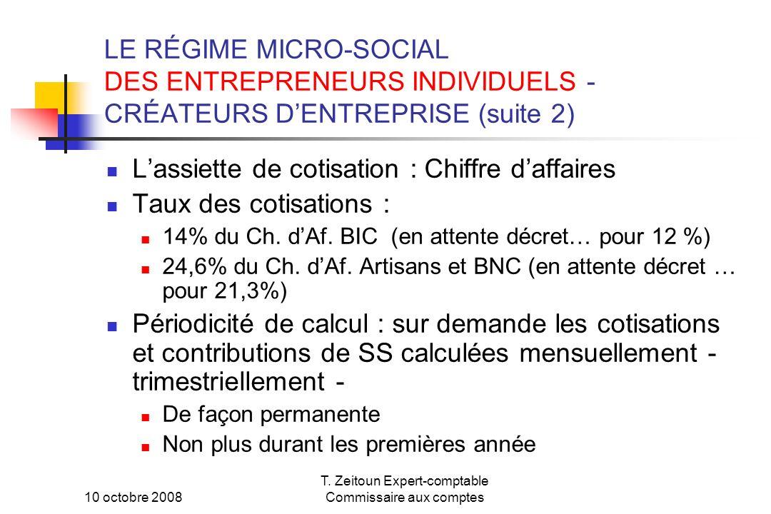 10 octobre 2008 T. Zeitoun Expert-comptable Commissaire aux comptes LE RÉGIME MICRO-SOCIAL DES ENTREPRENEURS INDIVIDUELS - CRÉATEURS DENTREPRISE (suit