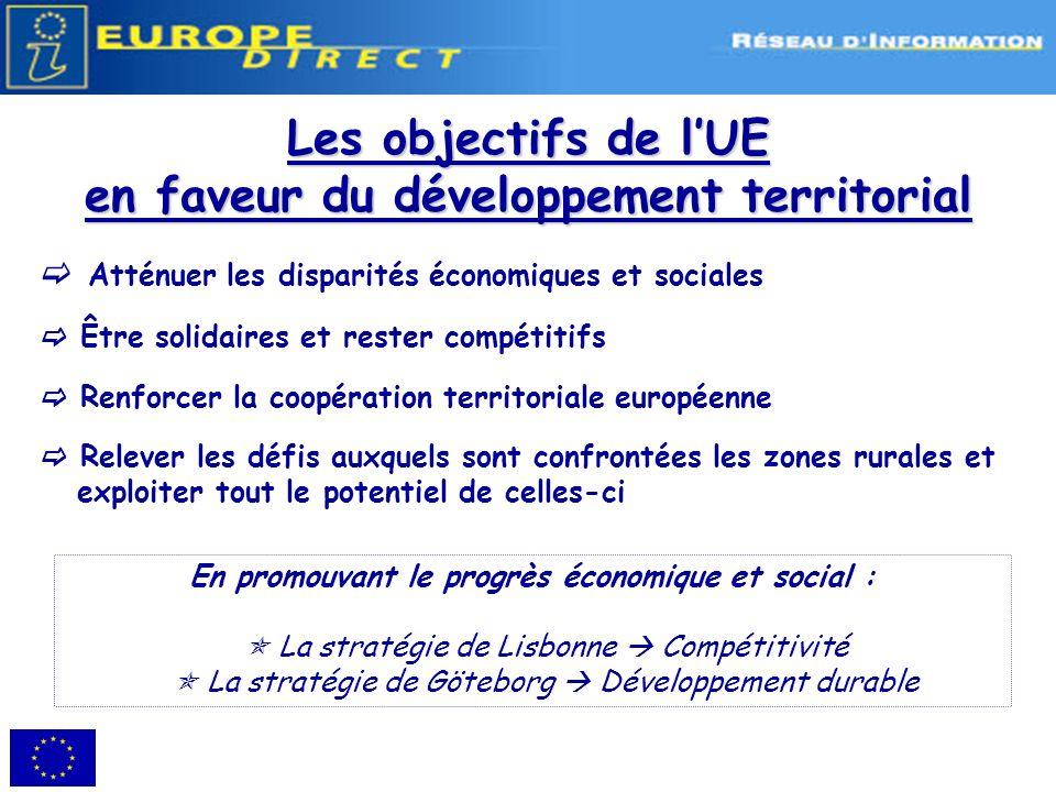 Volet transnational : Interreg IVB Objectif général : Contribution à la structuration du territoire européen sur la base despaces géographiques cohérents à léchelle européenne.