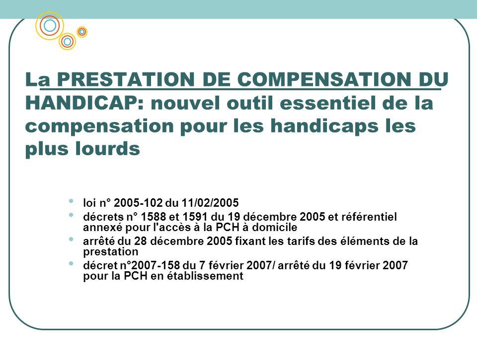 La PRESTATION DE COMPENSATION DU HANDICAP: nouvel outil essentiel de la compensation pour les handicaps les plus lourds loi n° 2005-102 du 11/02/2005