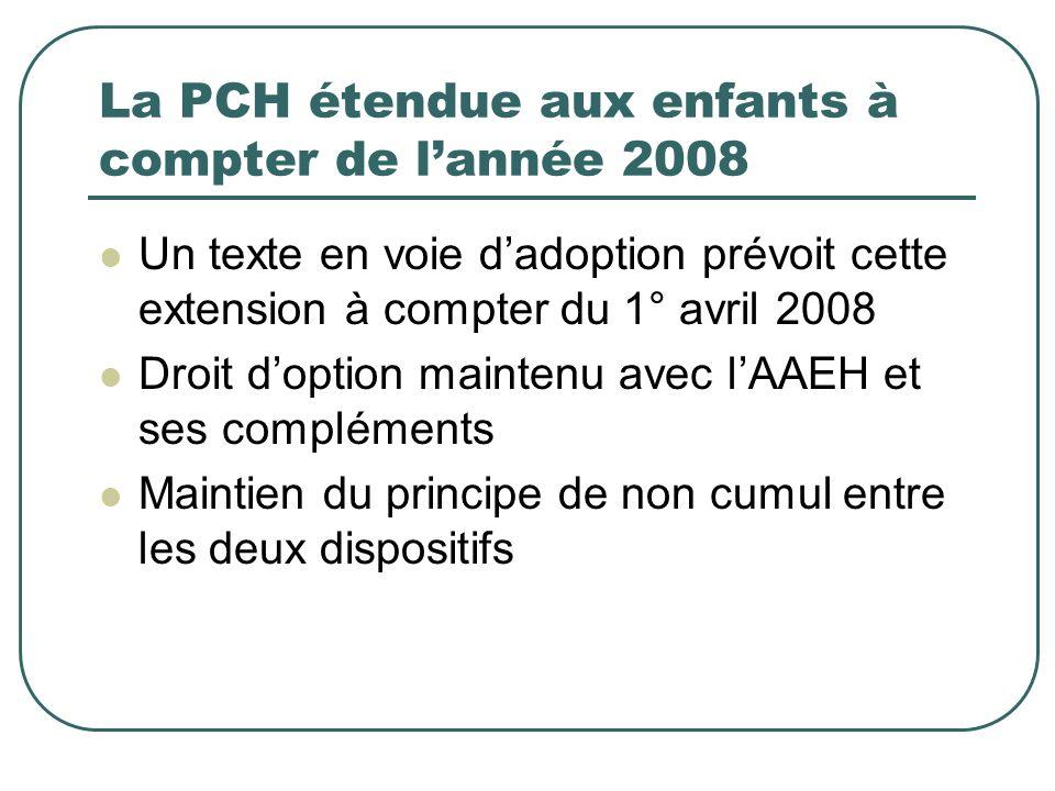 La PCH étendue aux enfants à compter de lannée 2008 Un texte en voie dadoption prévoit cette extension à compter du 1° avril 2008 Droit doption mainte