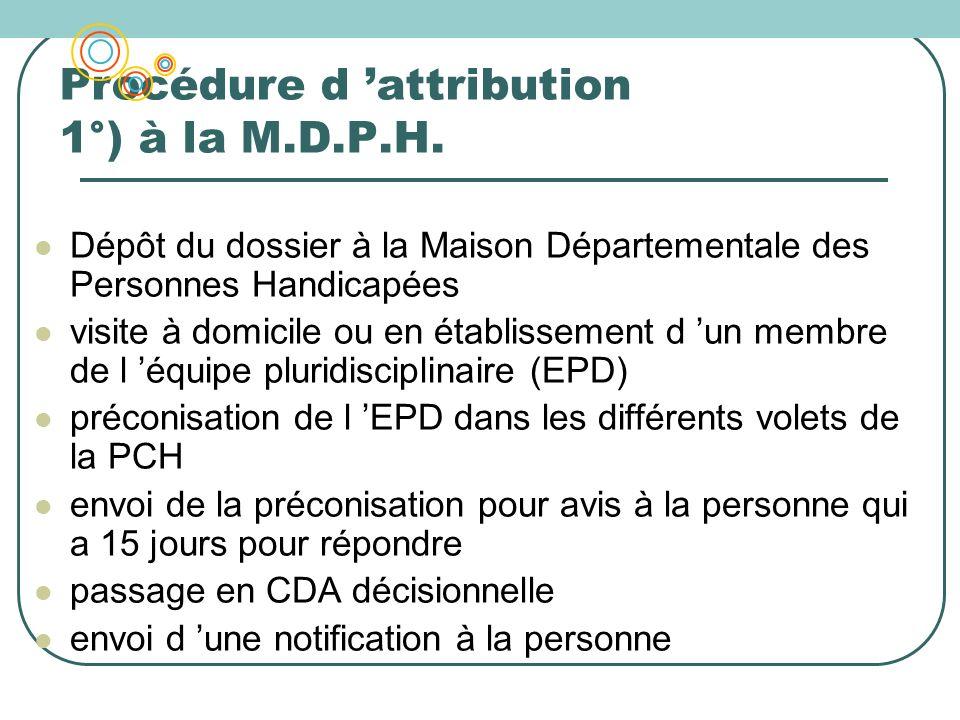 Procédure d attribution 1°) à la M.D.P.H. Dépôt du dossier à la Maison Départementale des Personnes Handicapées visite à domicile ou en établissement