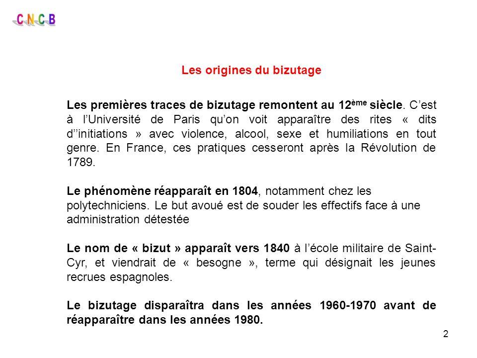 2 Les origines du bizutage Les premières traces de bizutage remontent au 12 ème siècle. Cest à lUniversité de Paris quon voit apparaître des rites « d
