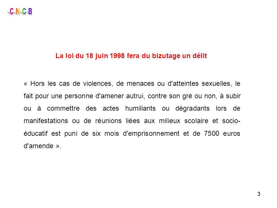 3 La loi du 18 juin 1998 fera du bizutage un délit « Hors les cas de violences, de menaces ou d'atteintes sexuelles, le fait pour une personne d'amene
