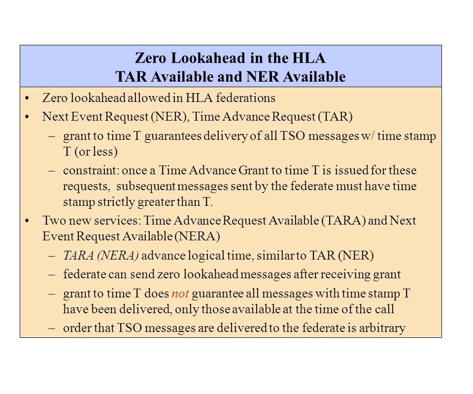 Zero Lookahead in the HLA TAR Available and NER Available Zero lookahead allowed in HLA federations Next Event Request (NER), Time Advance Request (TA