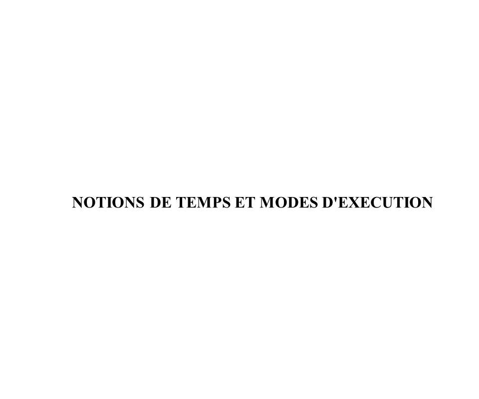NOTIONS DE TEMPS ET MODES D'EXECUTION