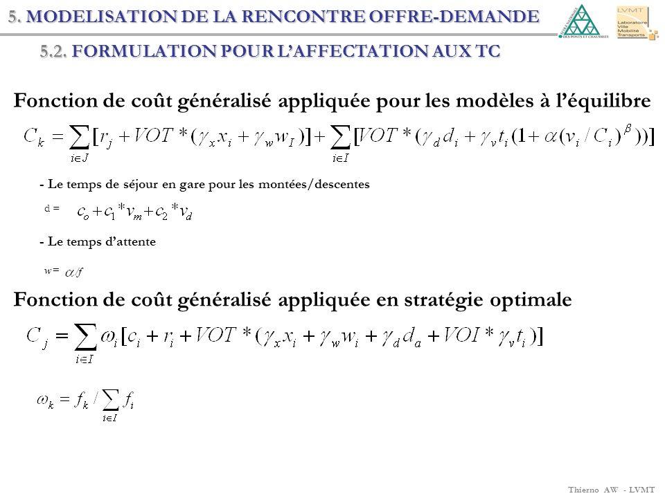 Thierno AW - LVMT 5.2. FORMULATION POUR LAFFECTATION AUX TC w= /f d = - Le temps de séjour en gare pour les montées/descentes - Le temps dattente Fonc