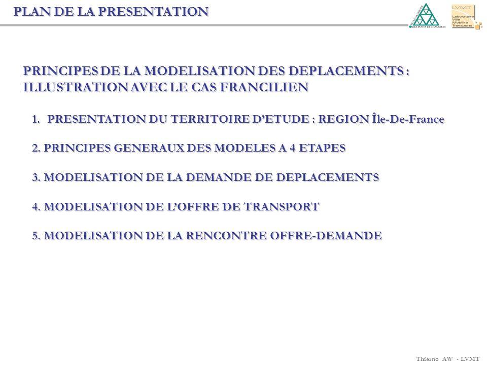 Thierno AW - LVMT PLAN DE LA PRESENTATION PRINCIPES DE LA MODELISATION DES DEPLACEMENTS : ILLUSTRATION AVEC LE CAS FRANCILIEN 1.PRESENTATION DU TERRIT