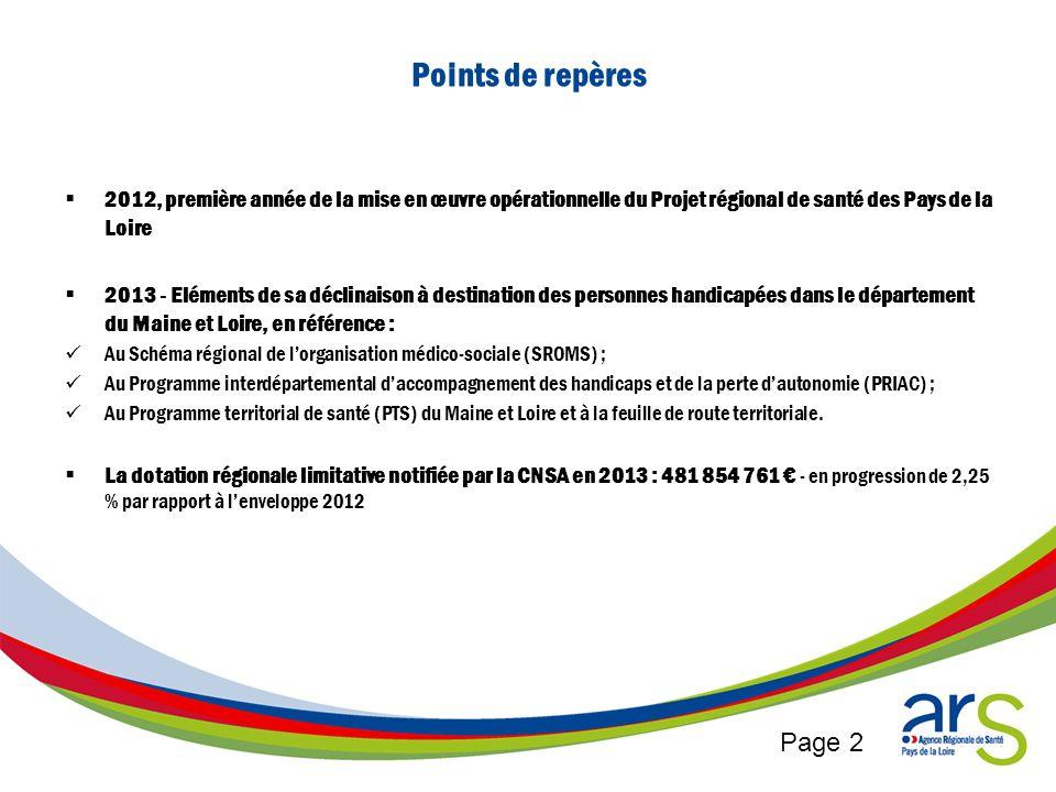 Page 2 Points de repères 2012, première année de la mise en œuvre opérationnelle du Projet régional de santé des Pays de la Loire 2013 - Eléments de s
