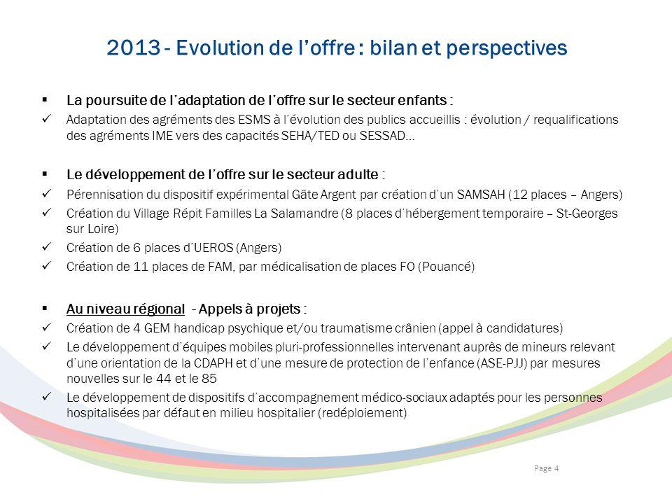 Page 4 2013 - Evolution de loffre : bilan et perspectives La poursuite de ladaptation de loffre sur le secteur enfants : Adaptation des agréments des