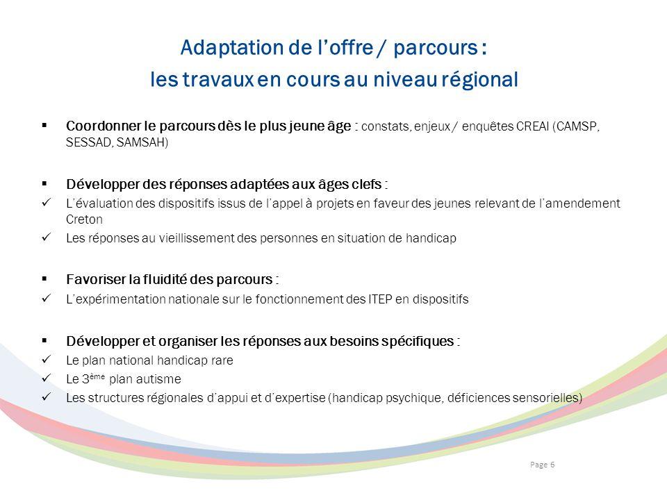 Page 6 Adaptation de loffre / parcours : les travaux en cours au niveau régional Coordonner le parcours dès le plus jeune âge : constats, enjeux / enq