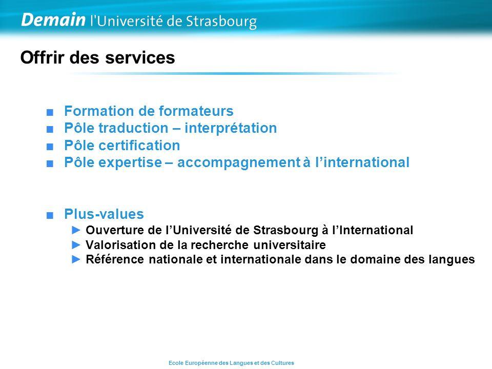 Offrir des services Formation de formateurs Pôle traduction – interprétation Pôle certification Pôle expertise – accompagnement à linternational Plus-