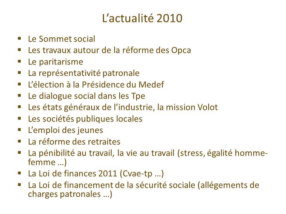 Lactualité 2010 Le Sommet social Les travaux autour de la réforme des Opca Le paritarisme La représentativité patronale Lélection à la Présidence du M