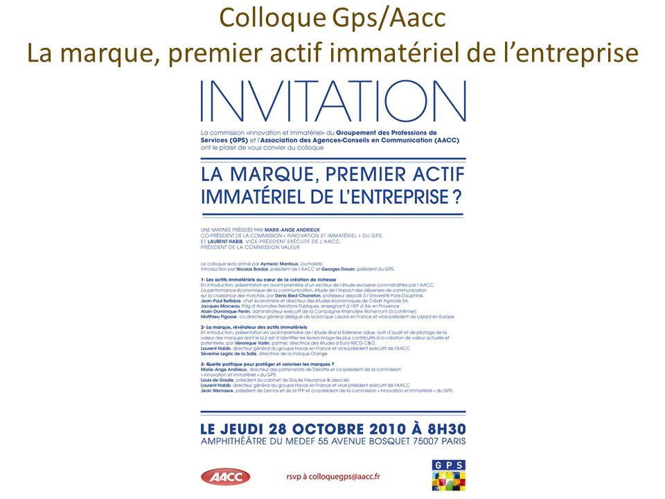 Colloque Gps/Aacc La marque, premier actif immatériel de lentreprise