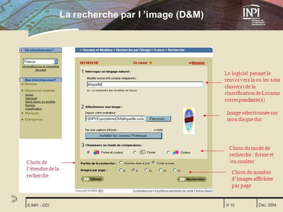 Déc. 2004 © INPI - DDIP.10 Le logiciel permet le renvoi vers la ou les sous classe(s) de la classification de Locarno correspondante(s) Choix du mode