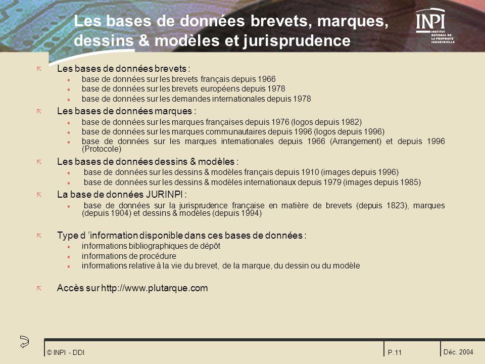 Déc. 2004 © INPI - DDIP.11 Les bases de données brevets, marques, dessins & modèles et jurisprudence ã Les bases de données brevets : l base de donnée